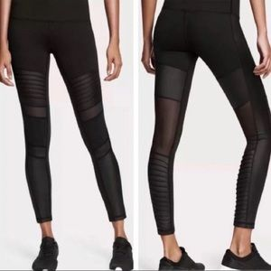 [VS] Sport Black Moto Mesh Knockout Long Leggings